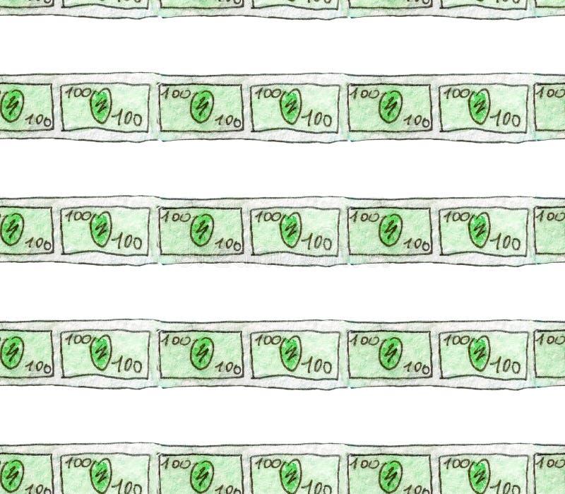 Esboço sem emenda da aquarela do teste padrão de cédulas dos desenhos animados nas denominações de cem dólares pela linha à finan fotografia de stock