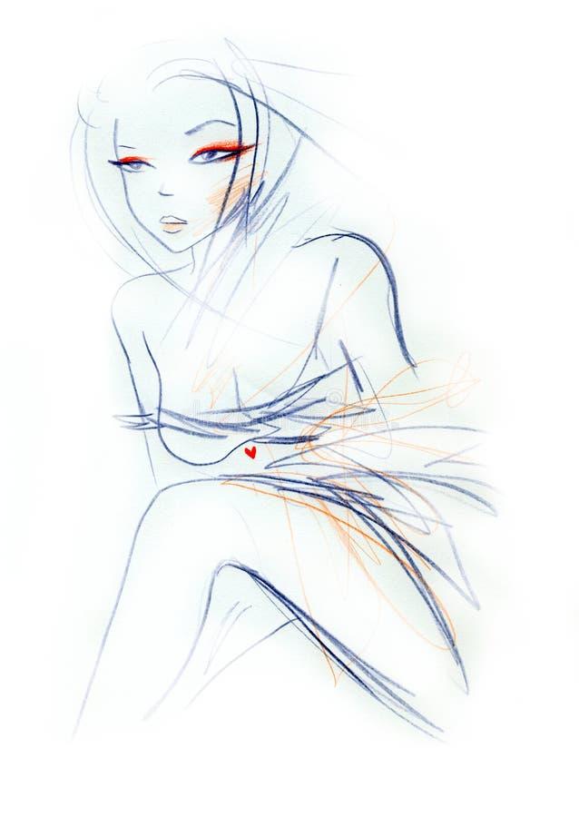 Esboço 'sexy' da forma da mulher ilustração royalty free
