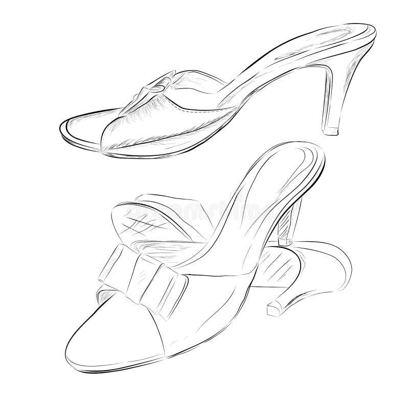 Esboço simples ajustado de sapatas da mulher, salto alto do preto da garatuja no fundo transparente do efeito ilustração stock