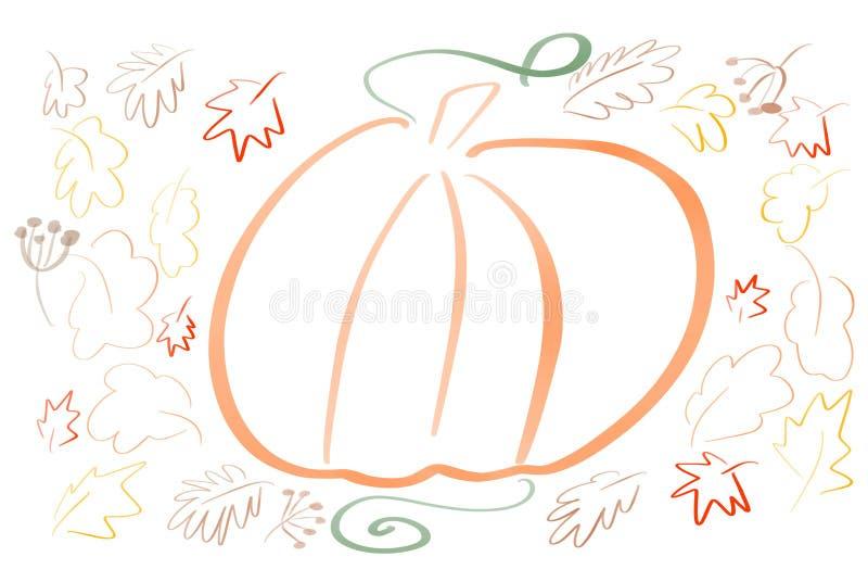 Esboço simples da abóbora da tração da mão com as folhas no fundo branco isolado coloração Autumn Pattern Acção de graças feliz ilustração royalty free