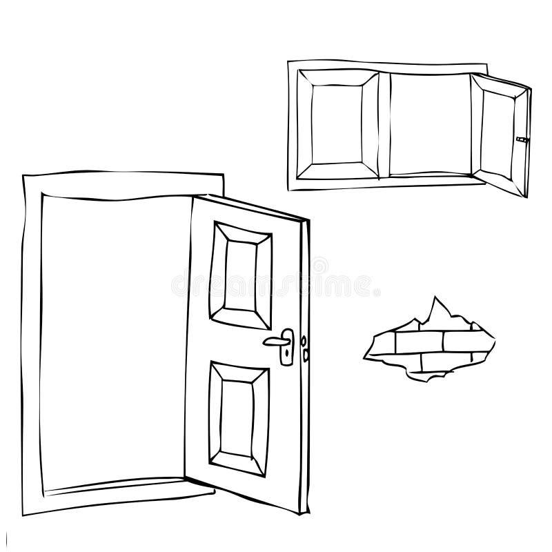 Esboço simples da porta, da janela e do tijolo abertos ilustração do vetor
