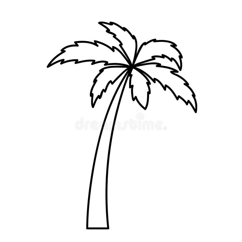 Esboço simples do pictograma do ícone da palmeira ilustração stock