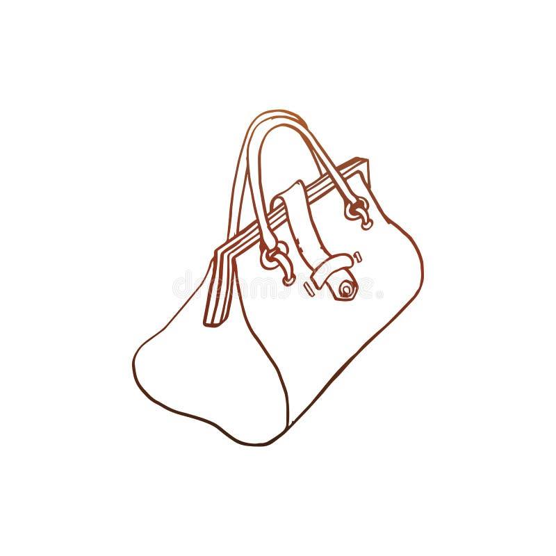 Esboço simples do vetor da bolsa dos wemen do estilo antigo ilustração royalty free