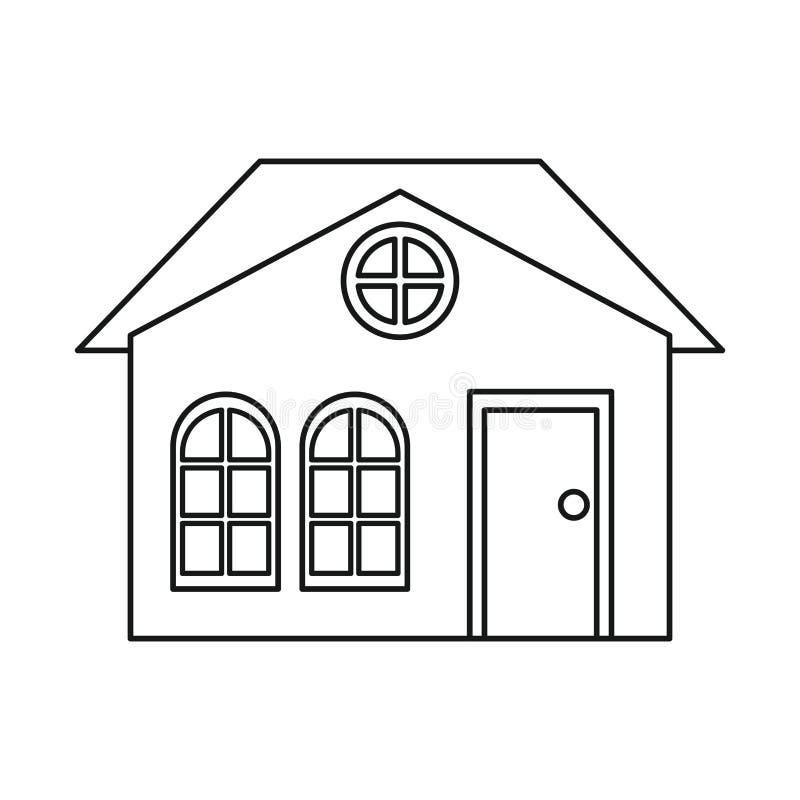 Esboço suburbano arquitetónico da família da casa ilustração do vetor