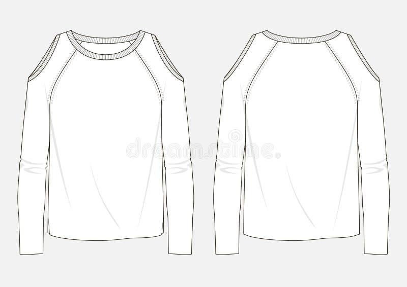 Esboço técnico da forma da camiseta da mulher ilustração royalty free