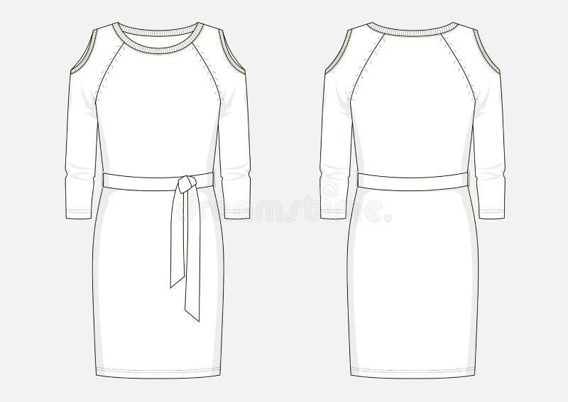 Esboço técnico da forma do vestido do jérsei ilustração royalty free