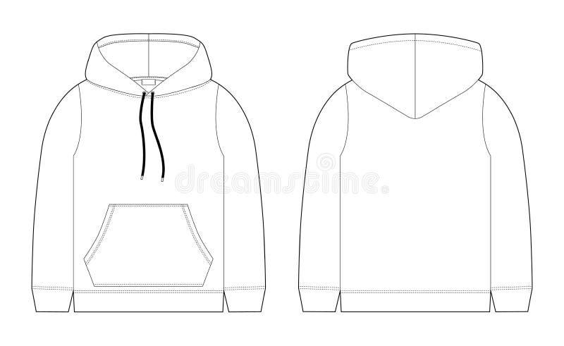 Esboço técnico da forma para o hoodie dos homens Molde do modelo hoody ilustração stock