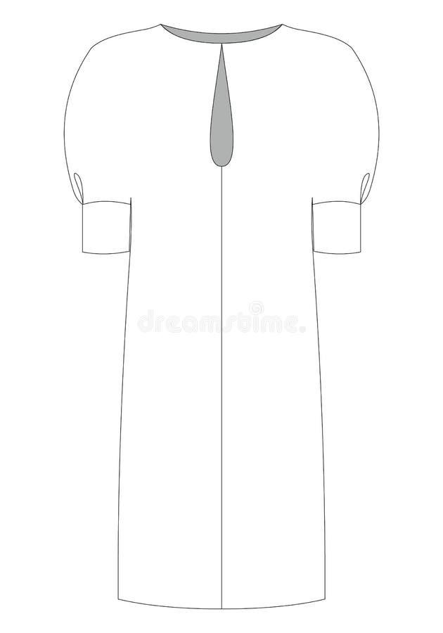 Esboço técnico das mulheres da forma do vestido no gráfico de vetor ilustração do vetor