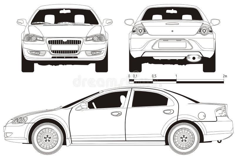 Esboço técnico do carro do vetor ilustração royalty free