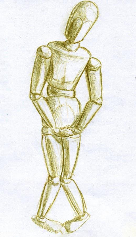 Esboço tímido do lápis da pose do manequim ilustração stock