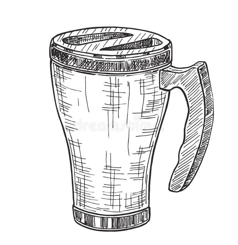 Esboço Thermo da caneca do curso da ilustração do thermomug do copo ilustração stock