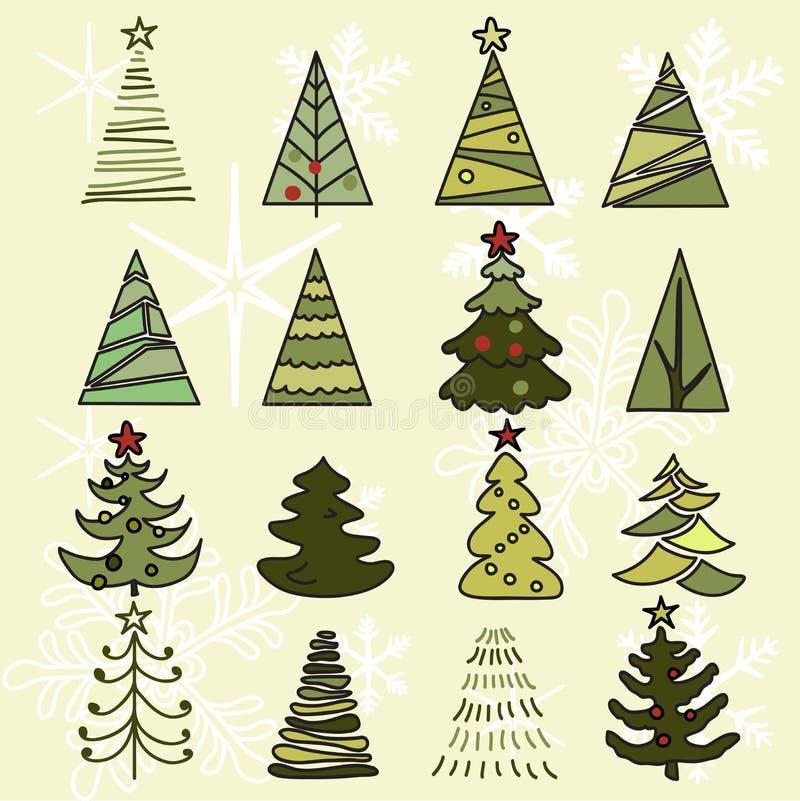 Esboço tirado árvores da mão Natal e ano novo fotografia de stock