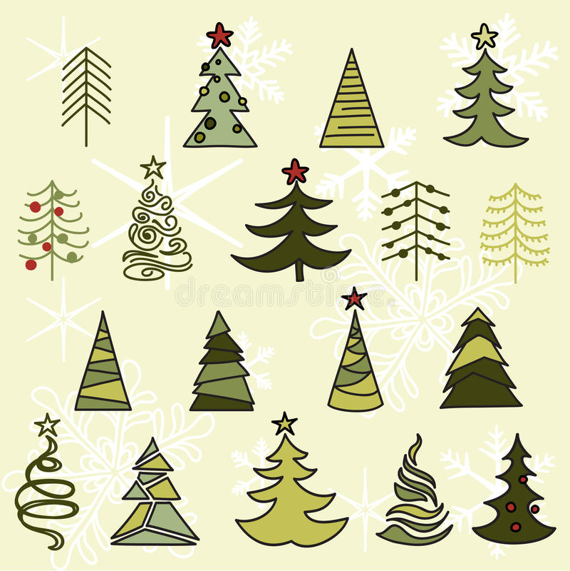 Esboço tirado árvores da mão Natal e ano novo foto de stock royalty free