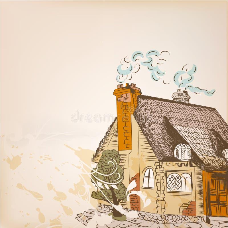 Esboço tirado mão com pouca casa ilustração royalty free