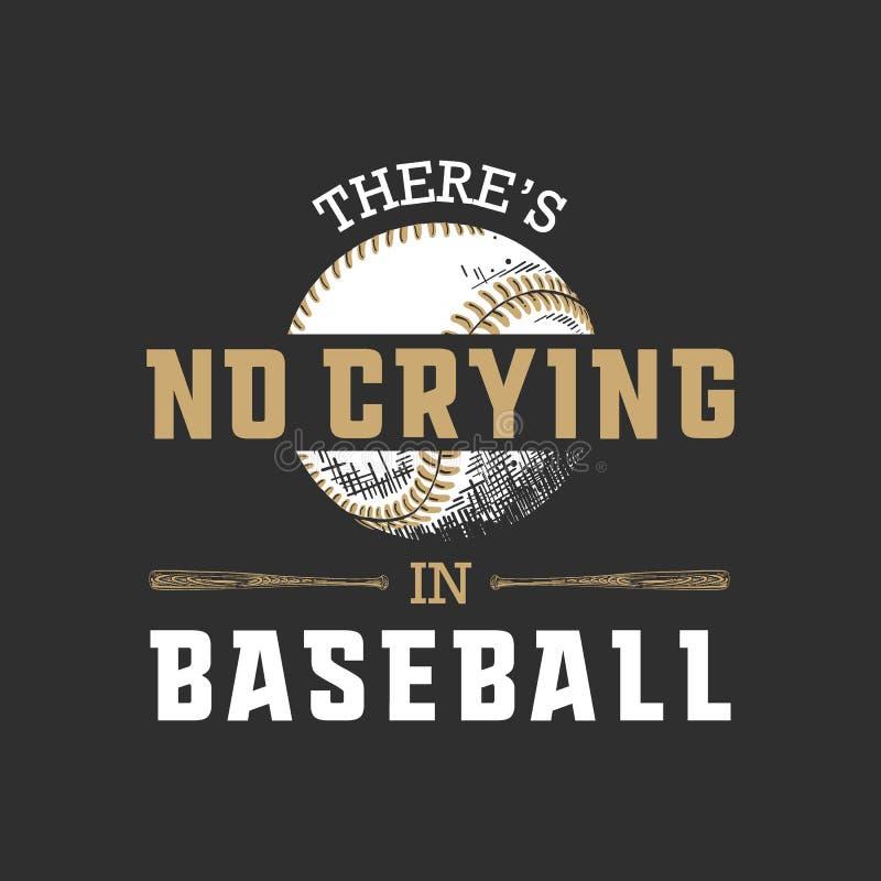 Esboço tirado mão da bola e do bastão com tipografia inspirador do esporte no fundo escuro N?o h? nenhum grito no basebol ilustração do vetor