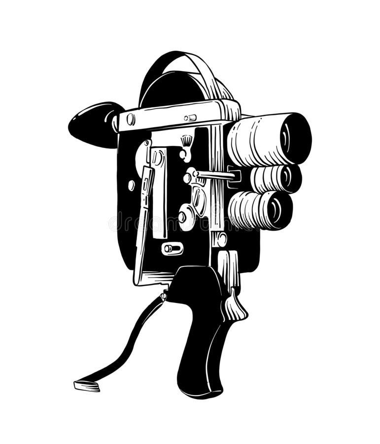 Esboço tirado mão da câmara de vídeo velha no preto isolada no fundo branco Desenho detalhado do estilo gravura a água-forte do v ilustração do vetor