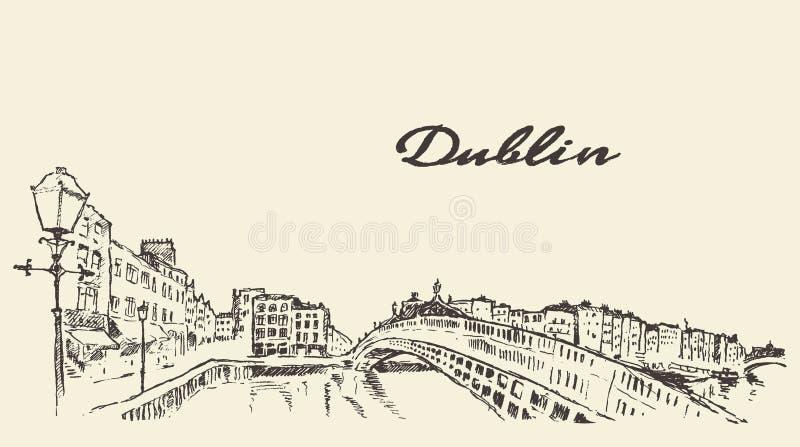 Esboço tirado mão da ilustração da skyline de Dublin ilustração royalty free