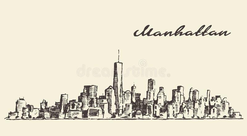Esboço tirado mão da ilustração de Manhattan New York ilustração do vetor