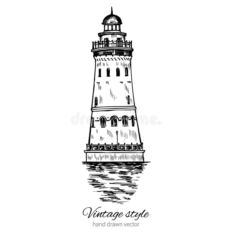 Esboço tirado mão da ilustração do vetor da tinta do farol, gravando a torre do estilo do vintage, centro de comércio etnográfico ilustração do vetor