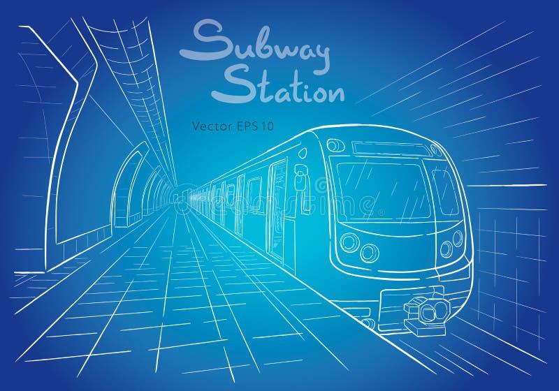 Esboço tirado mão da ilustração da estação de metro ilustração royalty free