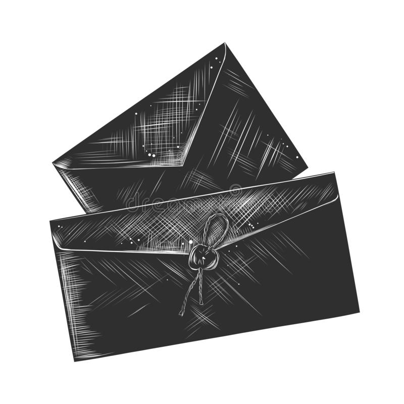 Esboço tirado mão da letra do papel em monocromático isolada no fundo branco Desenho detalhado do estilo do bloco xilográfico do  ilustração royalty free