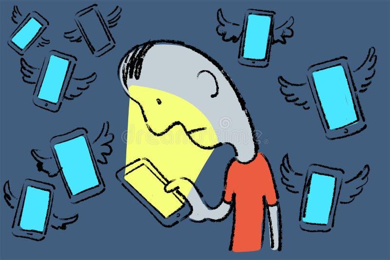 Esboço tirado mão da metáfora do homem triste que olha imediatamente seu telefone celular ilustração stock
