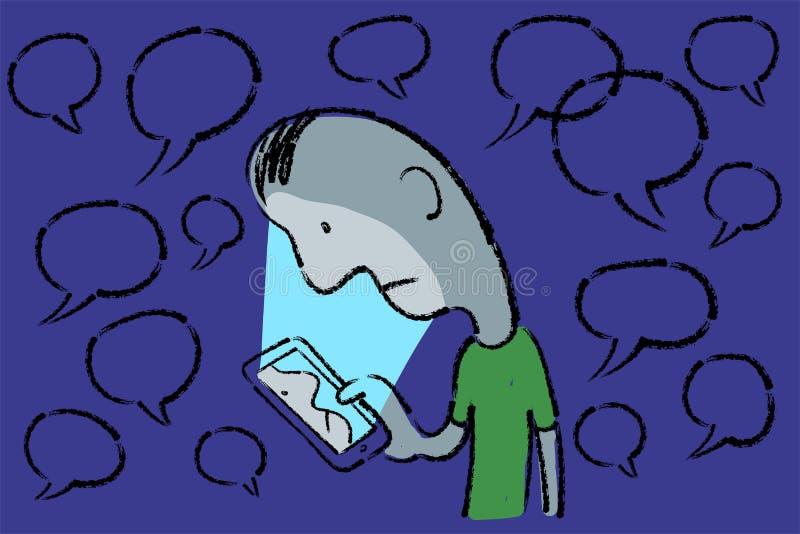 Esboço tirado mão da metáfora do homem triste que olha sua cara no telefone celular ilustração stock
