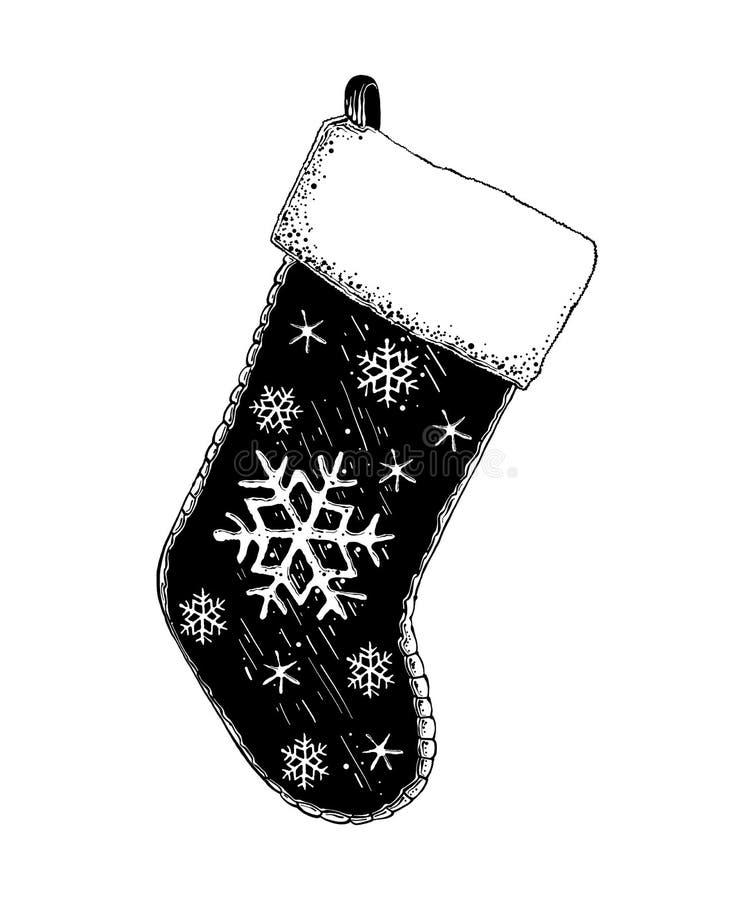 Esboço tirado mão da peúga do Natal em preto isolada no fundo branco Desenho detalhado do estilo gravura a água-forte do vintage ilustração royalty free