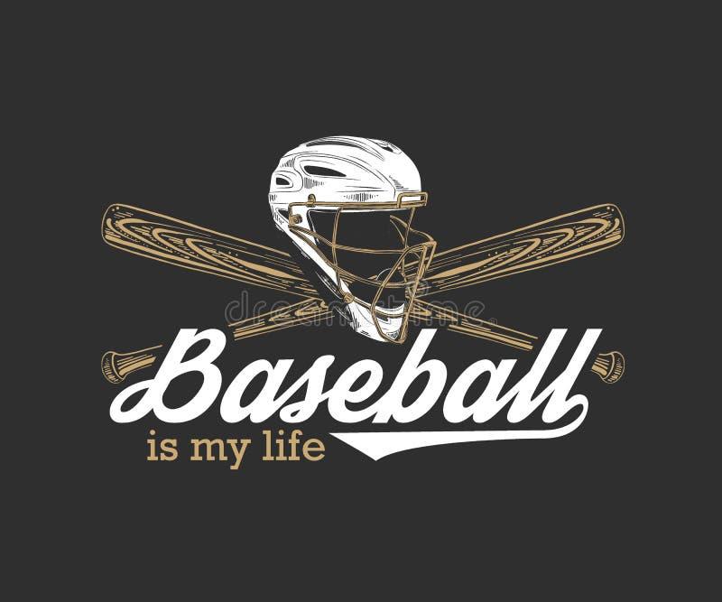 Esboço tirado mão do capacete e do bastão do basebol com tipografia inspirador do esporte no fundo escuro O basebol ? minha vida ilustração stock