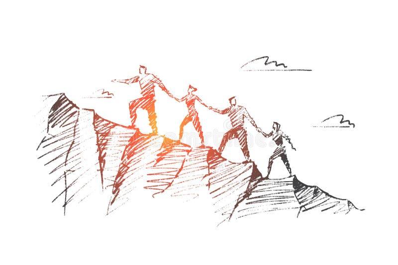 Esboço tirado mão do conceito dos trabalhos de equipa do vetor ilustração stock