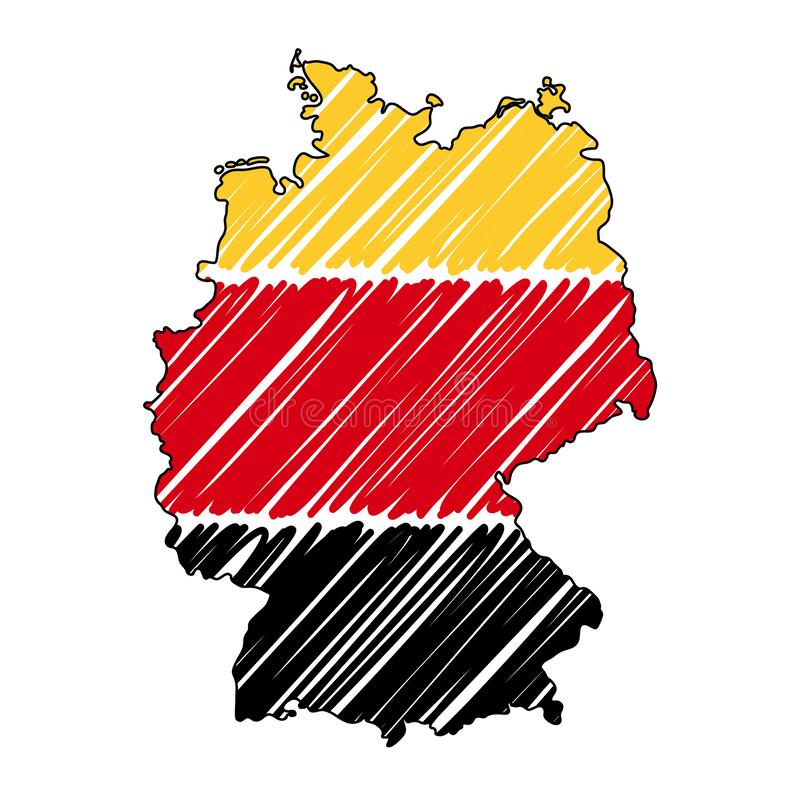 Esboço tirado mão do mapa de Alemanha Bandeira da ilustra??o do conceito do vetor, o desenho das crian?as, mapa do garrancho Mapa ilustração stock