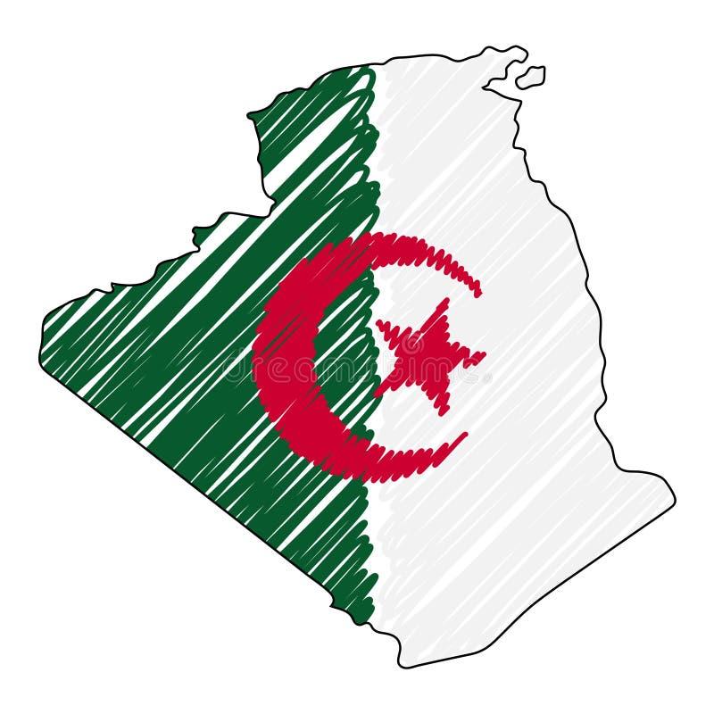 Esboço tirado mão do mapa de Argélia Bandeira da ilustra??o do conceito do vetor, o desenho das crian?as, mapa do garrancho Mapa  ilustração do vetor