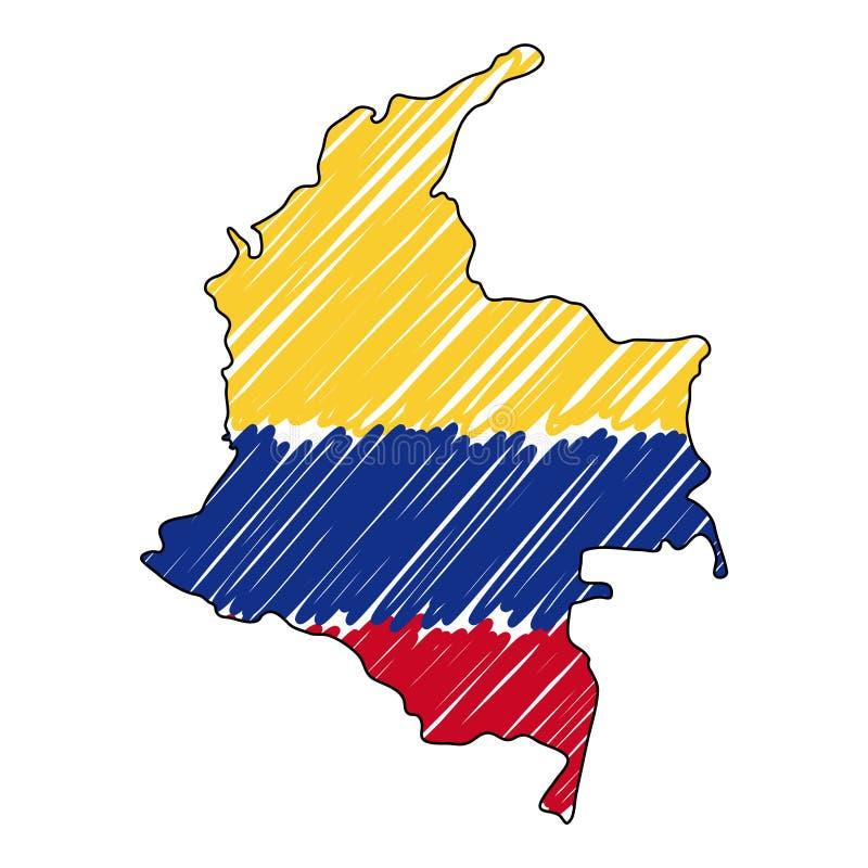 Esboço tirado mão do mapa de Colômbia Bandeira da ilustra??o do conceito do vetor, o desenho das crian?as, mapa do garrancho Mapa ilustração do vetor