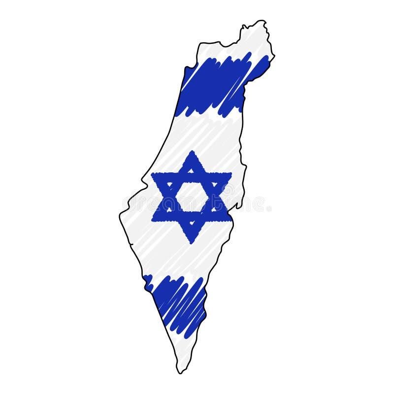 Esboço tirado mão do mapa de Israel Bandeira da ilustra??o do conceito do vetor, o desenho das crian?as, mapa do garrancho Mapa d ilustração royalty free