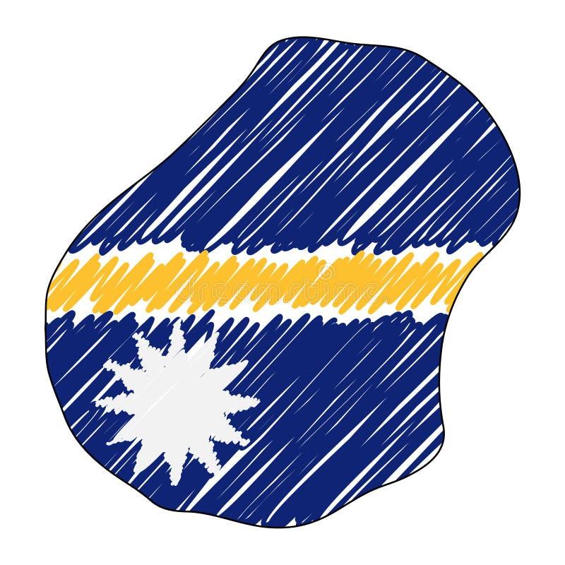 Esboço tirado mão do mapa de Nauru Bandeira da ilustra??o do conceito do vetor, o desenho das crian?as, mapa do garrancho Mapa do ilustração do vetor