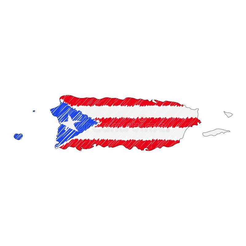 Esbo?o tirado m?o do mapa de Porto Rico Bandeira da ilustra??o do conceito do vetor, o desenho das crian?as, mapa do garrancho Ma ilustração stock
