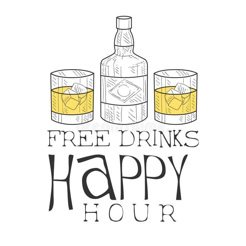 Esboço tirado mão do moderno do molde do projeto do sinal da promoção do happy hour da barra com garrafa de uísque e dois vidros ilustração do vetor