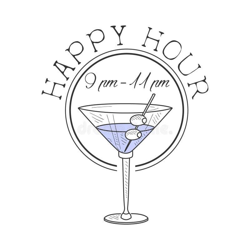 Esboço tirado mão do moderno do molde do projeto do sinal da promoção do happy hour da barra com o cocktail de Martini com azeito ilustração royalty free
