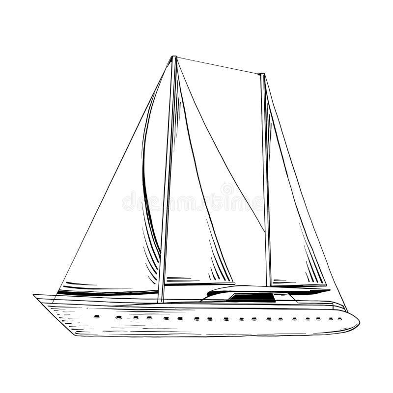 Esboço tirado mão do navio do mar no preto isolado no fundo branco Desenho detalhado do estilo gravura a água-forte do vintage ilustração royalty free