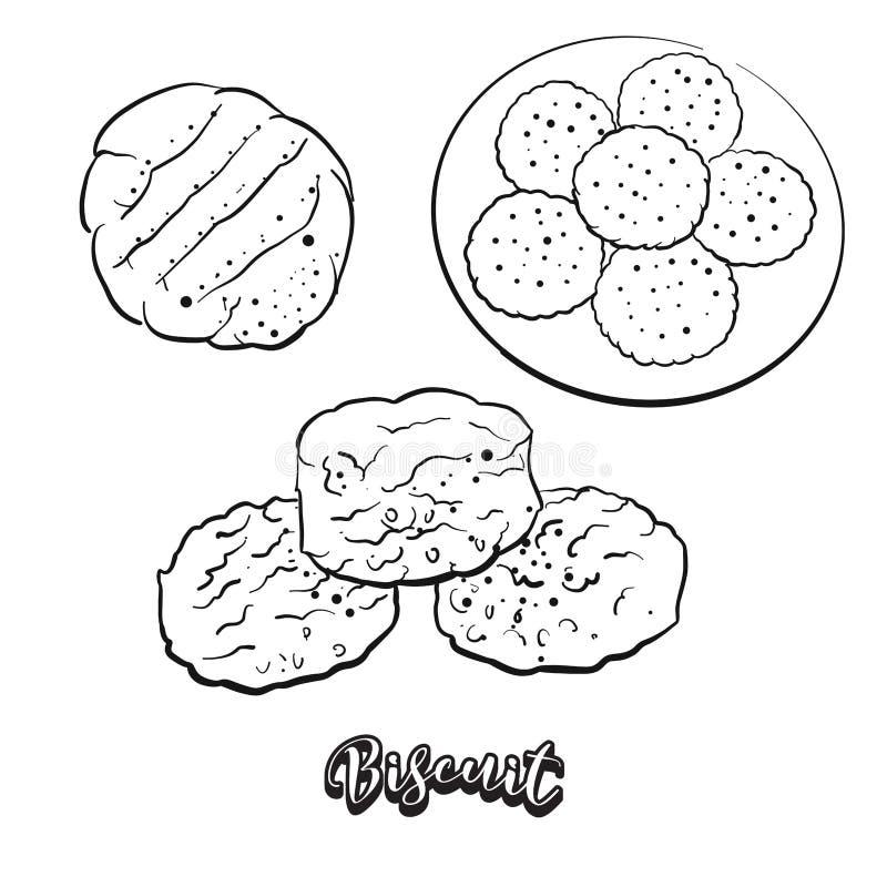 Esboço tirado mão do pão do biscoito ilustração royalty free