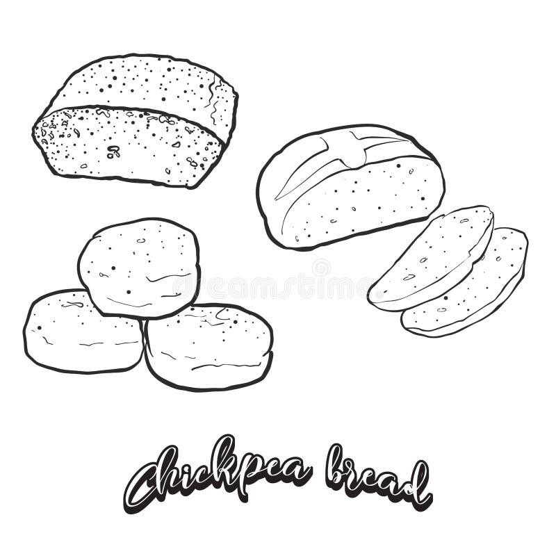 Esboço tirado mão do pão do pão do grão-de-bico ilustração do vetor
