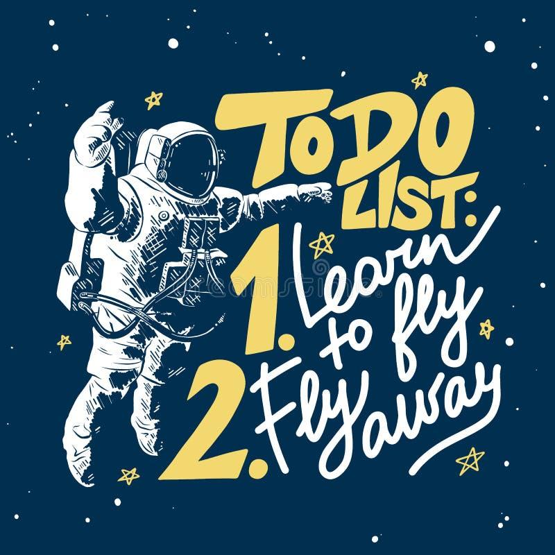Esboço tirado mão do planeta da lua com rotulação moderna no fundo azul Para fazer a lista: aprenda voar afastado, fle ilustração royalty free