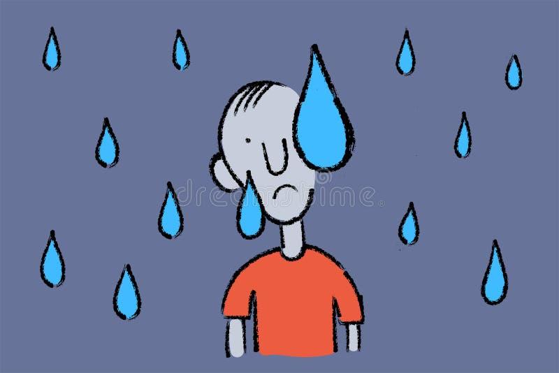 Esboço tirado mão do vetor do conceito do sofrimento do homem da depressão ilustração royalty free