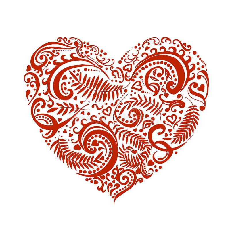 Esboço tirado mão do vetor do coração com ilustração dos ornamento no fundo branco ilustração do vetor