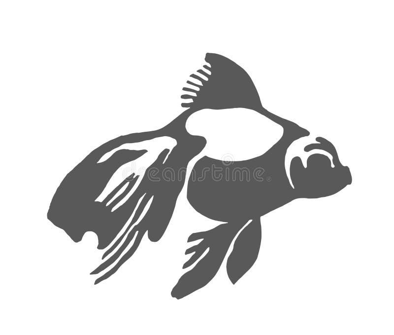 Esboço tirado mão do vetor da ilustração dos peixes no fundo branco ilustração do vetor