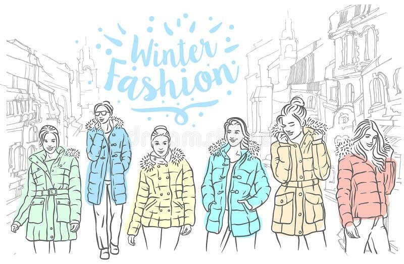 Esboço tirado mão do vetor da ilustração dos revestimentos do inverno no fundo branco ilustração royalty free