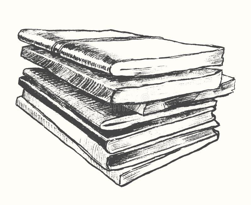 Esboço tirado vintage do vetor dos livros velhos da pilha ilustração royalty free