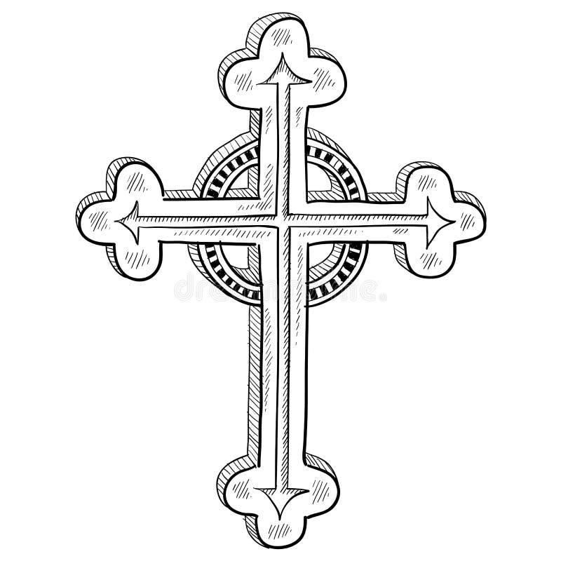 Esboço transversal ortodoxo ilustração do vetor