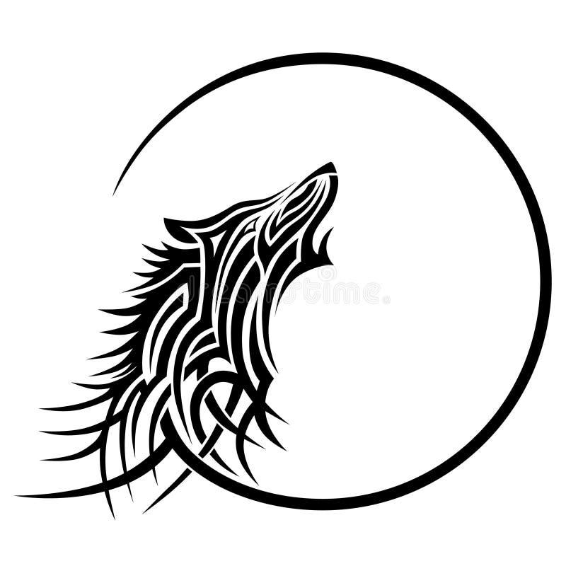 Esboço tribal do projeto da tatuagem do lobo ilustração stock
