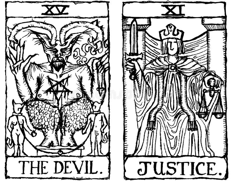 Esboço v.3 de dois cartões de Tarot ilustração royalty free